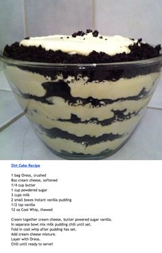 Dirt Cake with #Oreos. 1/2 stick butter.. 1/2 pow. Sugar... 3 1/2 cup milk