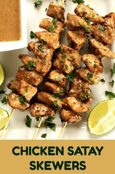 Chicken Satay Skewers with crunchy peanut butter sauce, a fantastic appetizer that will be the star of any party. Absolutely flavourful and tasty, super easy to make, these skewers are the best of the grilling season. They can also be easily made on a grilling pan to be enjoyed all year around. #skewers, #satay, #chickensatay, #chickenrecipes , #appetizer , #grilling , #peanutbutter , #asianrecipes