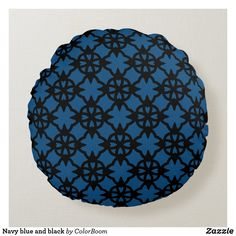 Navy blue and black round pillow Navy Blue Cushions, Navy Blue Throw Pillows, Soft Pillows, Decorative Pillows, Blue Living Room Decor, Blue Home Decor, Home Decor Bedroom, Living Room Cushions, Personalized Pillows
