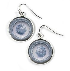 DELPH PLATE - Glass Picture Earrings - Silver Plated (Art Print Photo R22) by RosettaLondon on Etsy