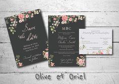 Floral Wedding Invitation Set Save The Date Formal by OliveEtOriel, $15.00 (Wedding Suite, Printable at home, Digital design, Romantic, Vintage, Rose, Jasmine, Baby's Breathe)