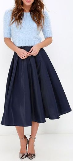 Without Question Navy Blue Midi Skirt