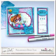 Designed by DT Lisa West using Winnie Float Away Pink Cards, Southern Girls, Spectrum Noir, Digital Stamps, Happy Friday, I Card, Doodles, Joy, Crafty