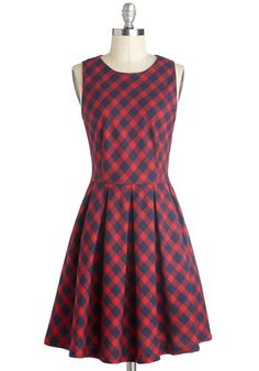 Curriculum of Cuteness Dress - Plaid, Casual, A-line, Good, Crew, Mid-length, Cotton, Woven, Red, Blue, Scholastic/Collegiate, Sleeveless <3 if only i could strut this down the streets of New York