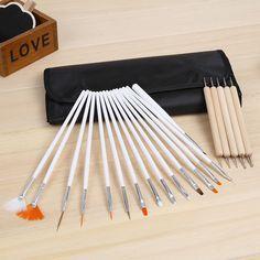 Professional Nail Art Design Dotting Painting Draw Pen Brushes Decorations Tools for False Nail Tips UV Gel Polish 20pcs/Set