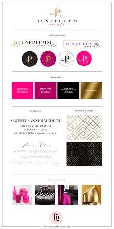brand guide for JunePlumm Events by Fancy Girl Design Studio Corporate Event Design, Corporate Branding, Logo Branding, Brand Identity Design, Branding Design, Design Studio, Design Design, Design Trends, Design Ideas