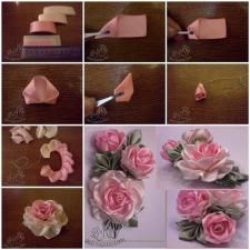 Wonderful Ribbon Embroidery Flowers by Hand Ideas. Enchanting Ribbon Embroidery Flowers by Hand Ideas. Ribbon Rosettes, Satin Ribbon Flowers, Ribbon Art, Ribbon Crafts, Fabric Ribbon, Flower Crafts, Fabric Flowers, Paper Flowers, Satin Ribbons