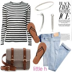 Stripes and Pearls by Littleh Jewelry by littlehjewelry on Polyvore featuring polyvore fashion style Proenza Schouler AG Adriano Goldschmied Abercrombie & Fitch Sole Society