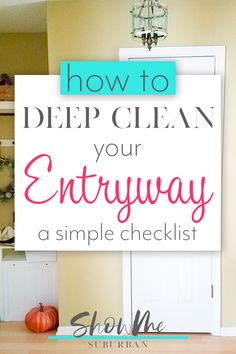 Whether you're spring cleaning or getting ready for back-to-school, this entryway cleaning checklist will help get your mudroom or foyer clean and tidy. Learn how to deep clean your entryway with these simple tasks. Bathroom Cleaning Checklist, Weekly Cleaning Checklist, Cleaning Tips, Clean House Schedule, Homekeeping, Spring Cleaning, Decoration, Mudroom, Foyer