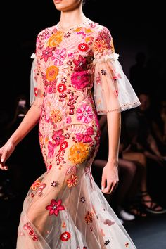 This vibrant floral sheer gown from Jenny Packham's Spring 2017 collection is so stunning!