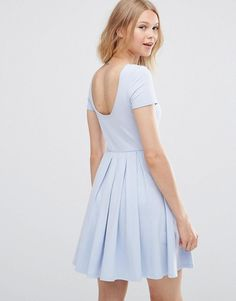 ASOS   ASOS Pleated Skater Dress with Scoop Back at ASOS