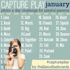 Join this photo-a-day challenge for January NOW. Get inspired and inspire others to play simply and connect with their kids every day! #play