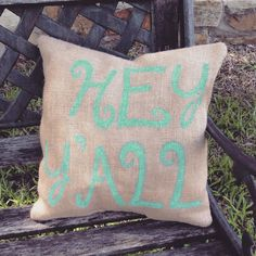 HEY Y'ALL Front Porch Burlap Pillow Outdoor by TexasPeachBoutique