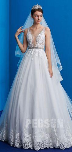robe de mariée col en V appliqué de dentelle guipure 2019 19690e42814a