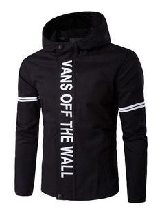 #Milanoo.com - #milanoo.com Black Windbreaker Jacket Men's Hooded Letters Printed Long Sleeve Zip Up Jacket - AdoreWe.com