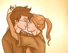 """Anything and everything about Harry James Potter and Ginevra (""""Ginny"""") Molly Weasley from JK Rowling's Harry Potter series. Harry Potter Artwork, Harry Potter Ships, Harry James Potter, Harry Potter World, Headcanon Harry Potter, Harry Potter Memes, Gina Weasley, Harry And Ginny, Cute Couple Cartoon"""