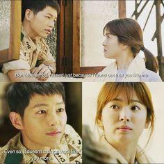 Song Joong-ki as Yoo Shi-jin and Song Hye-kyo as Kang Mo-yeon Descendants of the sun Song Joong Ki Dots, Descendants Of The Sun Wallpaper, Song Hye Kyo Descendants Of The Sun, Desendents Of The Sun, Sun Song, Song Joon Ki, Best Kdrama, Songsong Couple, Korean Drama Quotes