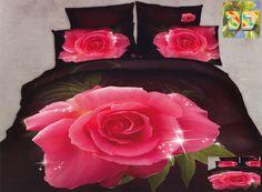 Pościele w kolorze brązowym z bawełny z różą
