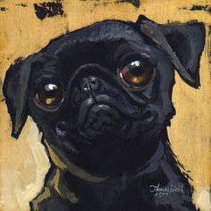 What can I say, Portland Loves Pugs!  This is an archival print of an original gouache and ink resist painting by Thomas Webb © 2009    Paper Size: 10 X