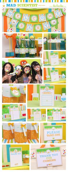 ••• Mad Scientist Baby Shower Party Theme •••  Shop Them Here:  https://www.etsy.com/shop/LeeLaaLoo/search?search_query=s21&order=date_desc&view_type=gallery&ref=shop_search  ♥♥♥ Vendor Credits:  ♥ Party Styling: LeeLaaLoo - www.leelaaloo.com  ♥ Party Printable Design & Decoration: LeeLaaLoo - www.etsy.com/shop/leelaaloo  Our YouTube channel for some DIY tutorials here: http://www.youtube.com/leelaaloopartyideas