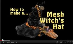Video by Trees N Trends on making a Halloween Witch Hat using a Work Wreath, Work Garland, metal easel frame and Deco Poly Mesh®