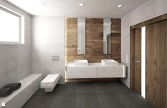 Łazienka w drewnie i betonie - zdjęcie od KRY_ - Łazienka - Styl Nowoczesny - KRY_