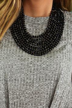 A Simple Solution Necklace: Black/Gold #shophopes