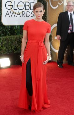 Emma Watson in Dior Couture at the Golden Globes (Jan 2014)