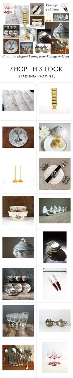 """""""Vintage Tabletop"""" by vintageandmain ❤ liked on Polyvore featuring interior, interiors, interior design, home, home decor, interior decorating, Reed & Barton, Libbey and vintage"""
