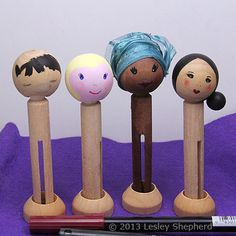 Options for painting clothespin doll faces and hair for a range of expressions and nationalities.