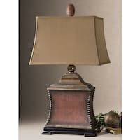Buy the Uttermost 26326 Aged Red Direct. Shop for the Uttermost 26326 Aged Red Woven Texture Base Lamp with Textile Shade from the Pavia Collection and save. Red Table Lamp, Metal Table Lamps, Light Table, Lamp Light, Lamp Shade Store, Tuscan Decorating, My Living Room, Living Area, Home Accents