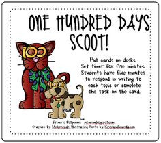 Use smart board to show cards and have students complete each activity in their notebook. Day of School Activities - Freebie 100 Day Of School Project, 100 Days Of School, Too Cool For School, School Holidays, School Stuff, First Grade Freebies, First Grade Math, Grade 2, Second Grade