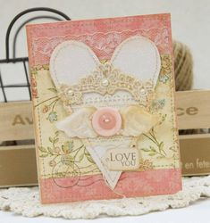 Shabby Winged Love Card...with stitched heart.