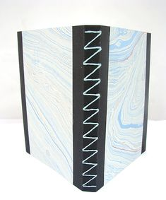 Notebook with z-stitched binding and marbled paper