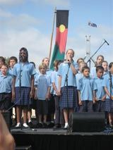 Kathryn Wells, Ainslie Primary School students performing Kerry Fletcher's 'Sorry Song', Parliament House, 13 February Photograph courtesy of the Commonwealth of Australia. Bring Them Home, Houses Of Parliament, Commonwealth, Primary School, Wells, February, Survival, Students, Photograph