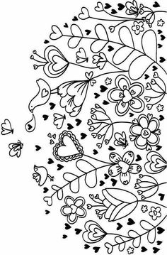 Hearts Coloring Page Make your world more colorful with free printable coloring pages from italks. Our free coloring pages for adults and kids. Heart Coloring Pages, Adult Coloring Pages, Printable Coloring Pages, Coloring Books, Colouring, Valentine Coloring Pages, Flower Coloring Pages, Embroidery Stitches, Embroidery Patterns