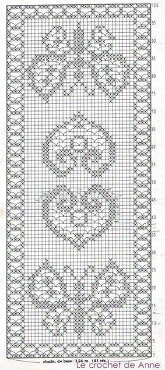 grille-chemin-de-table-coeur-et-papillon. Marque-pages Au Crochet, Filet Crochet Charts, Fillet Crochet, Crochet Motifs, Knitting Charts, Crochet Home, Thread Crochet, Crochet Crafts, Crochet Doilies