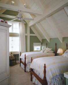 white and sage post and beam