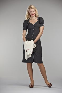 40's flair daytime dress. Black + dots