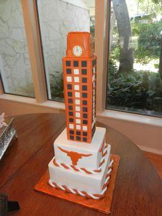 UT tower, longhorns, longhorn cake, UT cake, groom's cake, longhorn groom's cake, burnt orange cake, orange and white cake,