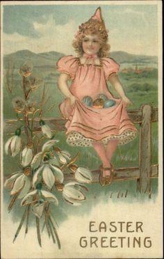Easter - Little Girl on Fence w/ Eggs c1910 Postcard