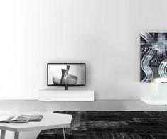 Lowboard Konfigurator mit TV Halterung Boden Breite 150 33,5 45 mitte matt weiss