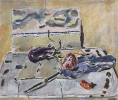DE PISIS FILIPPO (Ferrara 1896-Milano 1956)  Natura morta con melanzana e mela rossa 1950  Olio su cartone telato, 59x49,5