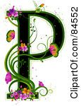 Black Capital Letter P Outlined In Green, With Colorful Flowers And Butterflies