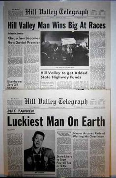 """Back to the Future Part II Hill Valley Telegraph """"Biff"""" Newspaper Prop Replicas"""