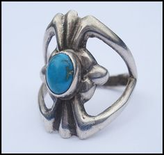 This is a lovely vintage sterling ring. Its a size 7 and weighs 6 grams.  The ring is thick and well made in a hand wrought design. The turquoise is bezel set and is a deep robins egg blue.  The ring is in excellent condition. Its not signed or marked so it has been tested and is guaranteed to be sterling.