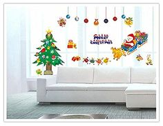 Christmas Trees Santa Claus Sleigh Bells Wall Stickers DIY Mural Art Decal Self Adhesive Removable PVC Wall Paper Decor197 inch276 inch Original ** Read more reviews of the product by visiting the link on the image.