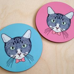 Round Coaster with Cute Cat Design on a Choice of Pink or Turquoise Background. Cute Coasters, Turquoise Background, Grey Cats, Cat Design, Cute Illustration, Colours, Shapes, Prints, Gray Cats