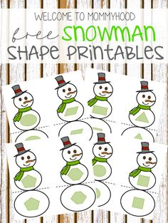 Free Printable Snowman Shape Matching from Welcome to Mommyhood
