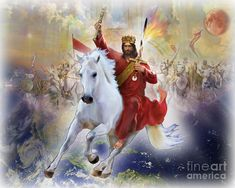 Jesus coming back on a White Horse Jesus Coming Back, Christian Soldiers, Christian Images, Christian Artist, Jesus Art, Prophetic Art, Lion Of Judah, Jesus Pictures, Bible Pictures